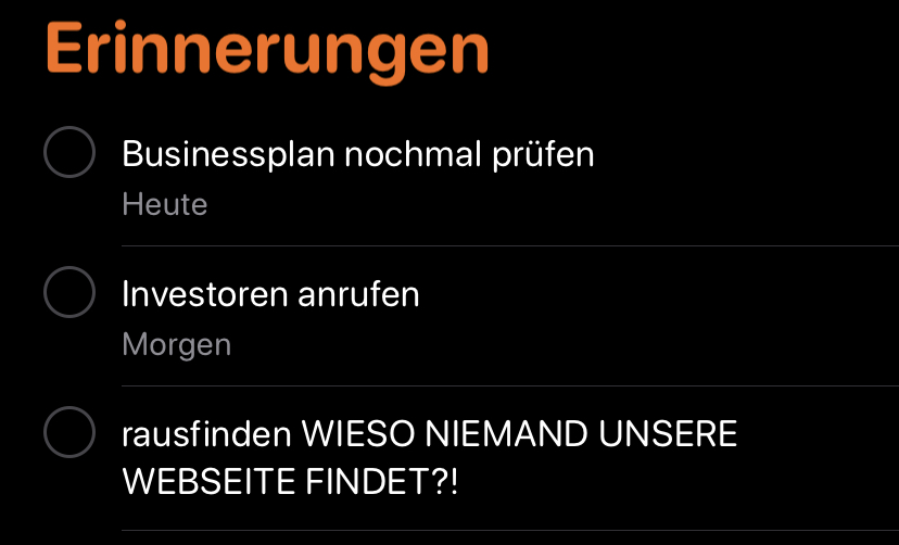 Screenshot Erinnerungen iPhone